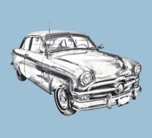 1950 Ford Custom Deluxe Classsic Car Illustration Kids Tee