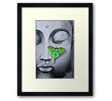 Buddha with Luna Moth Framed Print