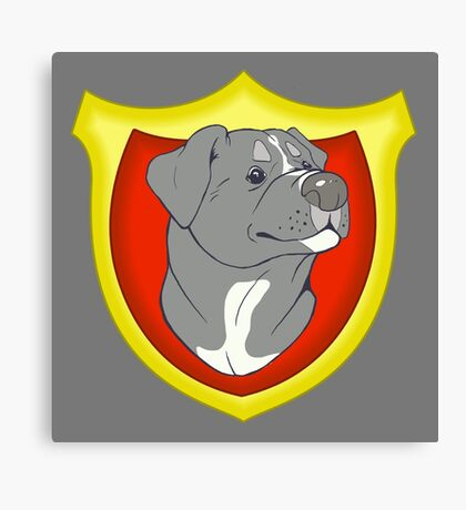 Pit Bull Pride-  Blue with Crest Canvas Print