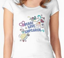 Peace, Love and cupcakes. Women's Fitted Scoop T-Shirt
