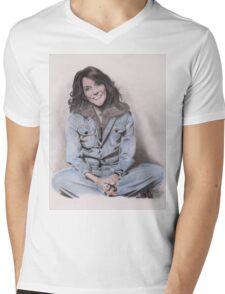 Karen Carpenter Tinted Graphite Drawing Mens V-Neck T-Shirt