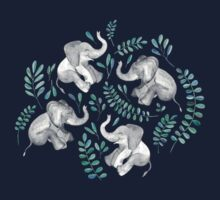 Laughing Baby Elephants – emerald and turquoise One Piece - Short Sleeve