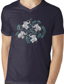 Laughing Baby Elephants – emerald and turquoise Mens V-Neck T-Shirt