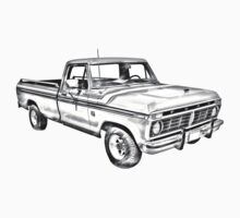 1975 Ford F100 Explorer Pickup Truck Illustrarion One Piece - Short Sleeve