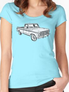 1975 Ford F100 Explorer Pickup Truck Illustrarion Women's Fitted Scoop T-Shirt