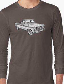 1975 Ford F100 Explorer Pickup Truck Illustrarion Long Sleeve T-Shirt