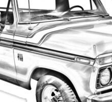 1975 Ford F100 Explorer Pickup Truck Illustrarion Sticker