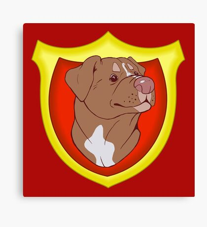 Pit Bull Pride - Red with Crest Canvas Print