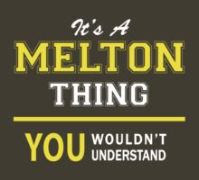 It's A MELTON thing, you wouldn't understand !! by satro