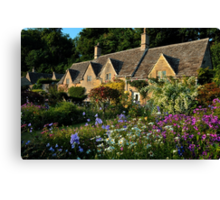 Ancient Cotswold Cottages at Bibury. Canvas Print