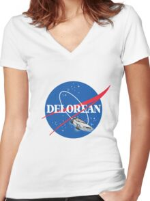 Delorean Nasa Women's Fitted V-Neck T-Shirt