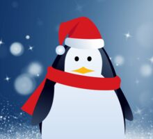 Cute Penguin w Red Santa Hat Christmas Snow Stars Sticker