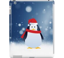 Cute Penguin w Red Santa Hat Christmas Snow Stars iPad Case/Skin
