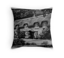 Chocolate Box Cottage in B & W Throw Pillow