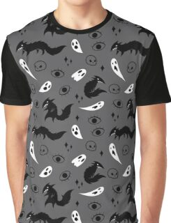Wolf and Ghost Pattern Graphic T-Shirt