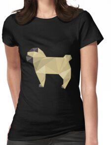 Modern Geometric Faun Pug Puppy Profile  Womens Fitted T-Shirt