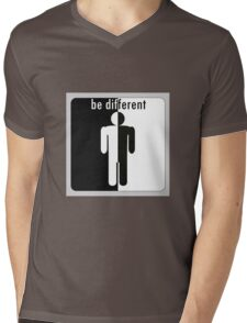 Be different. man divided in black and white Mens V-Neck T-Shirt