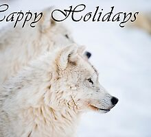Arctic Wolf Holiday Card - 11 by WolvesOnly