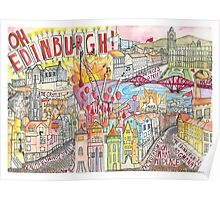 Illustrated Map drawing of Edinburgh Poster