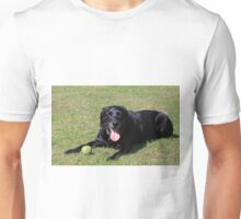 LR laying with toy black Unisex T-Shirt