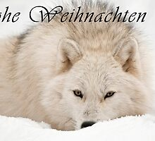 Arctic Wolf Christmas Card - German - 12 by WolvesOnly