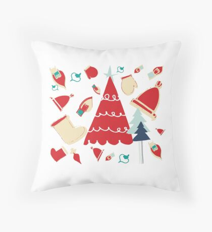 Christmas Tree red Throw Pillow