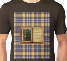 Jamie and Claire book on plaid Unisex T-Shirt
