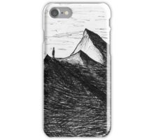 Man and shadow on mountain drawing iPhone Case/Skin