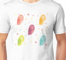 Owls, Moons and Stars White Pattern Unisex T-Shirt