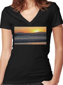 Sunset Waves Women's Fitted V-Neck T-Shirt