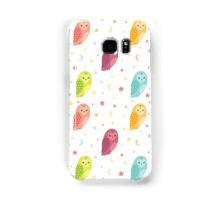 Owls, Moons and Stars White Pattern Samsung Galaxy Case/Skin