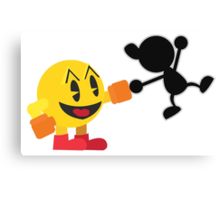 Pac-Man and Mr. Game and Watch Vector Canvas Print