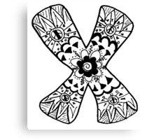 "Hipster Letter ""X"" Zentangle Canvas Print"