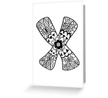 "Hipster Letter ""X"" Zentangle Greeting Card"