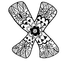 "Hipster Letter ""X"" Zentangle Photographic Print"
