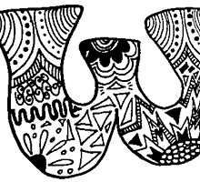 "Hipster Letter ""W"" Zentangle by alexavec"