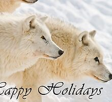 Arctic Wolf Holiday Card - 13 by WolvesOnly