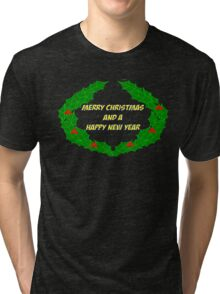 Merry Christmas Wreath Happy Holidays Tri-blend T-Shirt