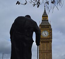London's Big Ben and Winston Churchill by reisekind