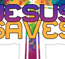 Jesus Saves with Stained Glass Cross Sticker