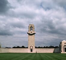 Marj in front of name rolls Australian War Memorial Villers Bretonneux France 198405080089  by Fred Mitchell
