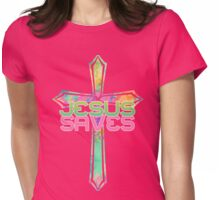 Jesus Saves with Stained Glass Cross 2 Womens Fitted T-Shirt