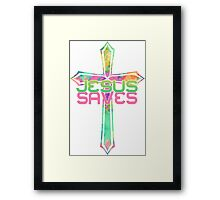 Jesus Saves with Stained Glass Cross 2 Framed Print