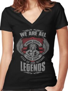 Some Step Up And Become LEGENDS (Broly) Women's Fitted V-Neck T-Shirt