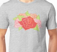 Roses Pattern- Grey Unisex T-Shirt