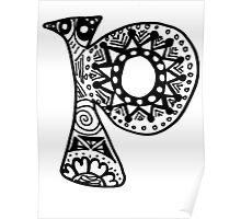 "Hipster Letter ""P"" Zentangle Poster"