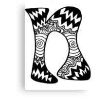 "Hipster Letter ""N"" Zentangle Canvas Print"