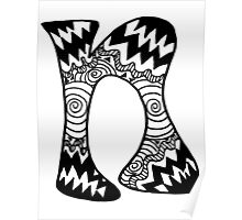 "Hipster Letter ""N"" Zentangle Poster"