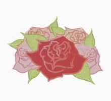 Roses Pattern- Blue Kids Tee