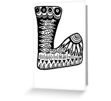 "Hipster Letter ""L"" Zentangle Greeting Card"